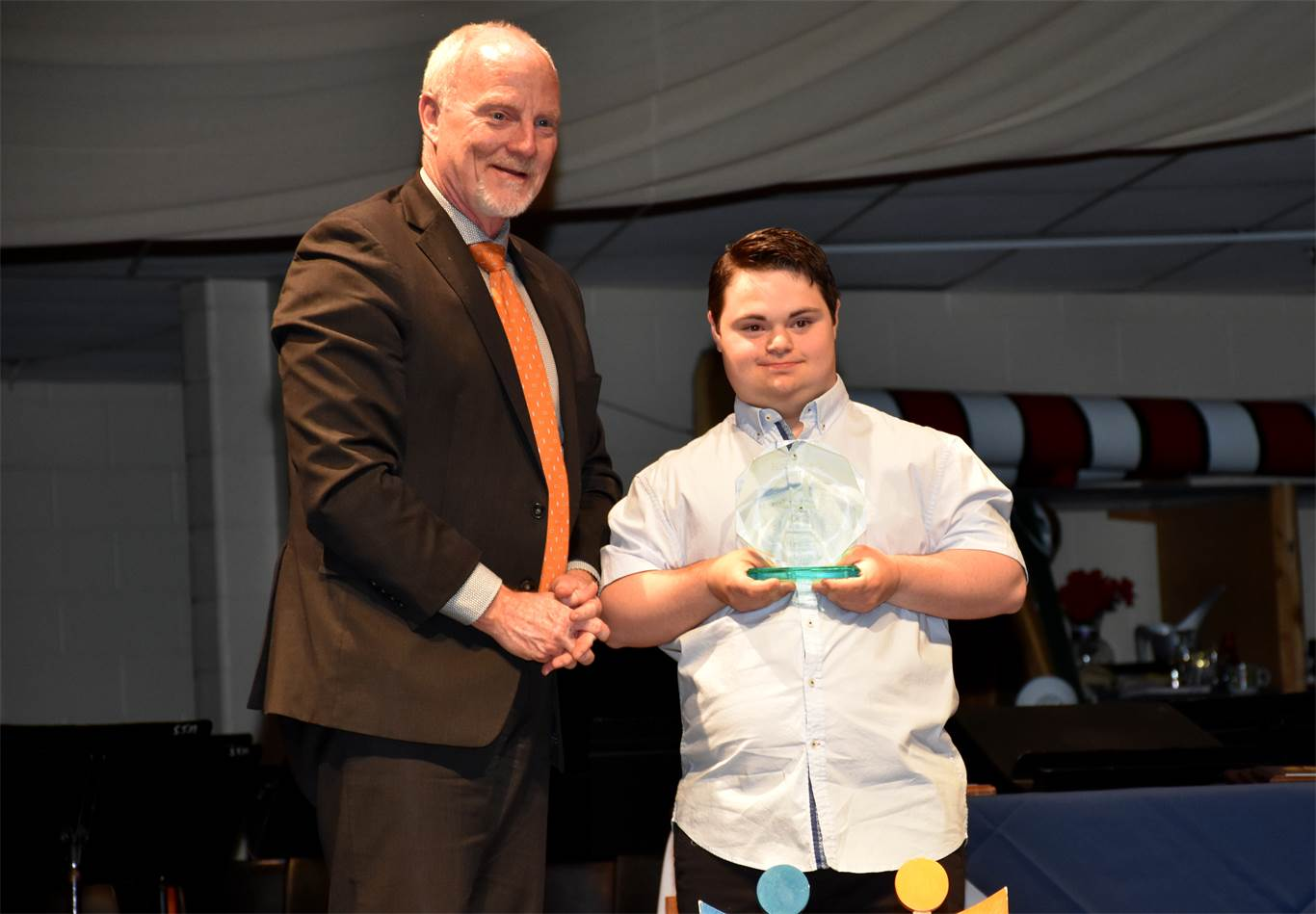 Presenting the James Hansen Spirit of Community Award on behalf of his late father, Director of Education David Hansen congratulated Marc Marcelli from St. Thomas More Catholic Secondary School for being a