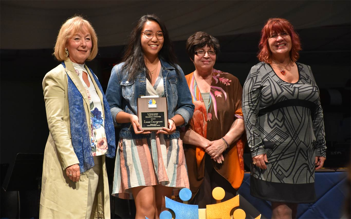 This year's recipient of the St. Thomas Aquinas Centre for the Arts Foundation Scholarship was Louise Conception from Bishop Ryan Catholic Secondary School. The scholarship, presented by Sandie Richardson, Isabella Lanza and Mary Jane Demsar, is to be used for post-secondary studies in the Arts.
